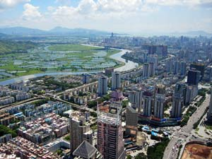 Aerial view of Shenzhen.